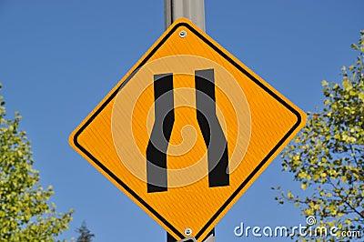 Road narrow sign