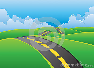 Road through nature background Vector Illustration
