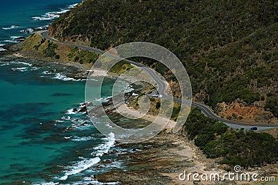 Road near an ocean