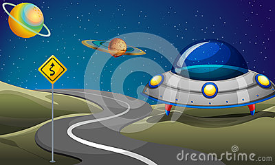 A road near the planets