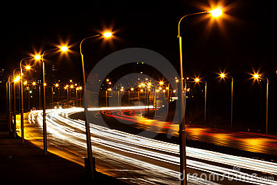 Road  night   city