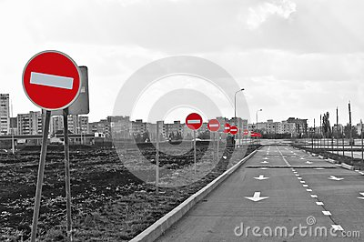 The road and no entry road signs