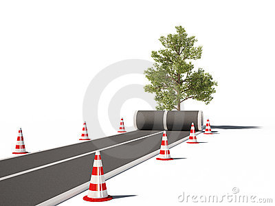 Road no way traffic cones 3d cg