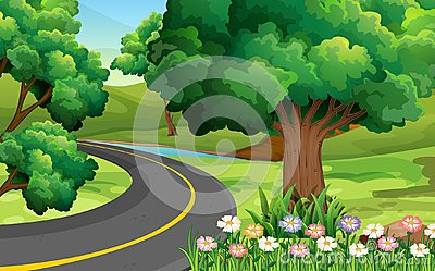 Road in the park Vector Illustration