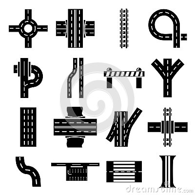 Free Road Parts Constructor Icons Set, Simple Style Royalty Free Stock Images - 106953709