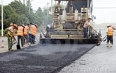 ROAD PAVING Editorial Stock Photo