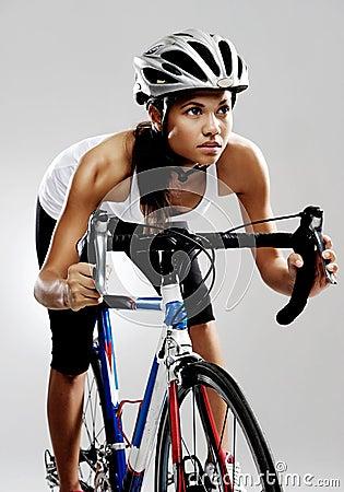 Road racing bicycle woman