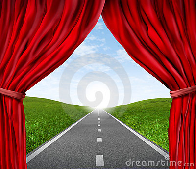 Road with red velvet curtain and drapes