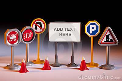 Road Repairs - Toy Road Signs - Add Text Stock Photo