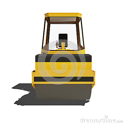 Road roller isolated on white background.