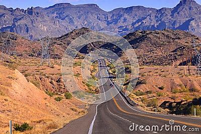 Road through rugged terrain