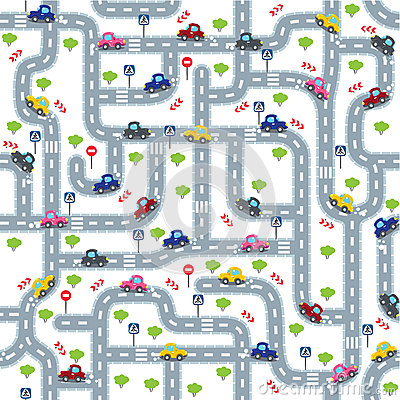 Free Road Seamless Pattern With Funny Cars Stock Image - 68466981
