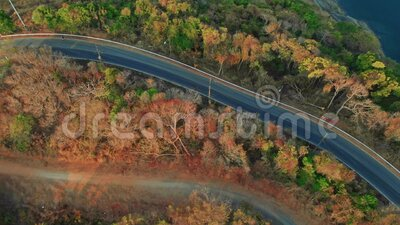 Road on the shore of Phuket in Thailand. Flying overlooking a road through a mountain pass in the jungle between the beaches of Yanui and Naiharn on Phuket stock video
