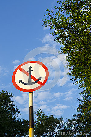 Road sign with an anchor