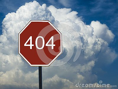Road sign 404 on the background of the sky with clouds Stock Photo