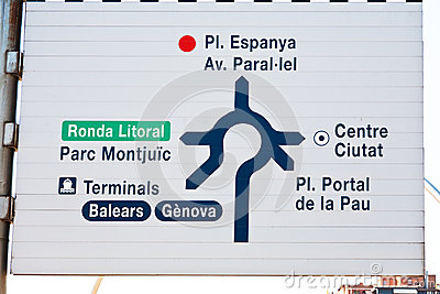 Road sign in Barcelona