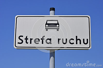 Road sign with the car