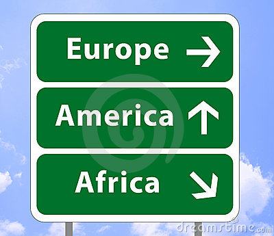 Road sign of continents 2