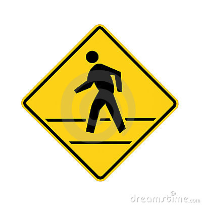 Free Road Sign Crosswalk Yellow With Lines Royalty Free Stock Photos - 10507258
