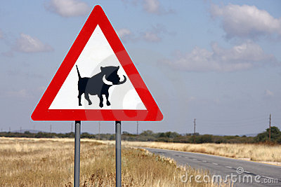 Road sign - Danger Wathogs - Namibia