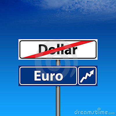 Road Sign The end of dollar, euro up