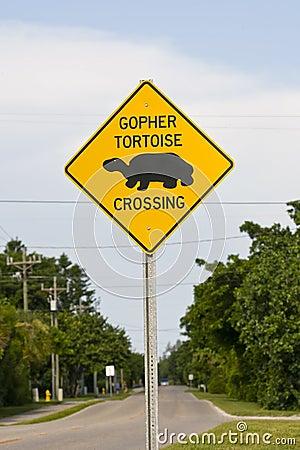 Road sign in a habitat erea