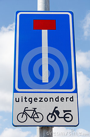 Road sign indicating dead end except for cyclists