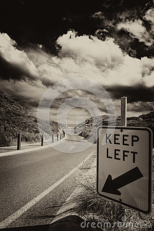 Road sign, keep left