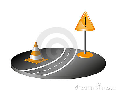 Road with sign and orange cone