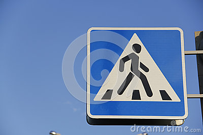 Road sign pedestrian crossing.