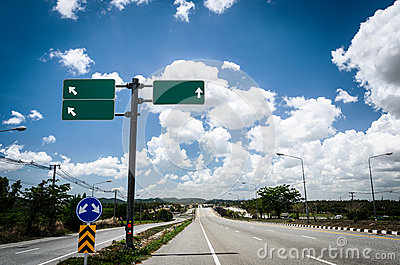 Road with sign pole and blue sky