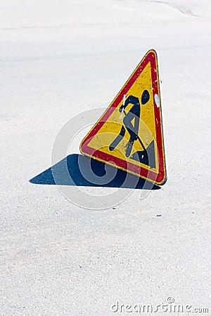 Road sign of repair work