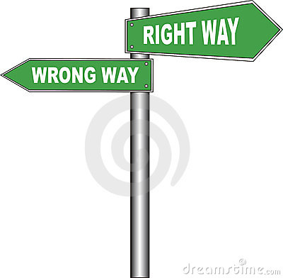 Road sign: Right way / Wrong way