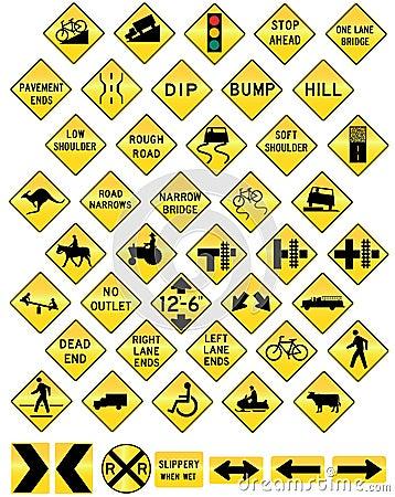 Road sign set warning