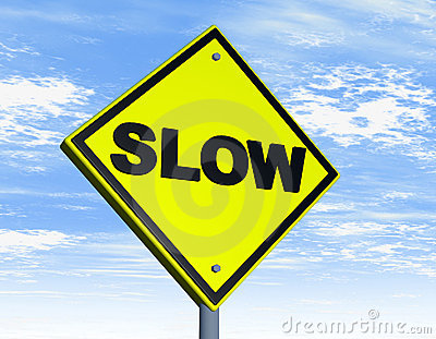 Road sign with slow word