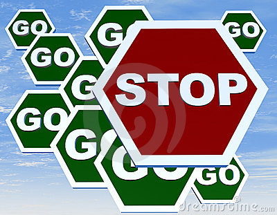 Road sign with stop and go