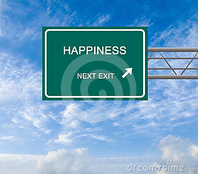Road sign to happiness