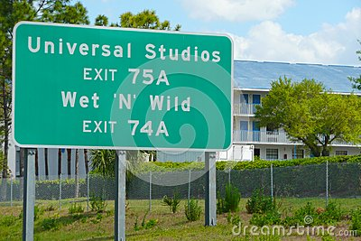 Road Sign for Universal Studios Editorial Stock Photo