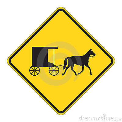 Free Road Sign Warning - Horse Draw Royalty Free Stock Images - 4973669