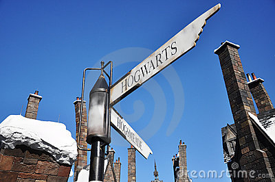Road Sign in Wizarding World of Harry Potter Editorial Stock Photo