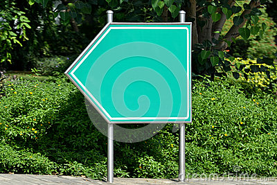 Road signpost, green, blank