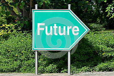 Road signpost, green, future