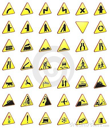 Road signs 3d rendering pack (warning signs)