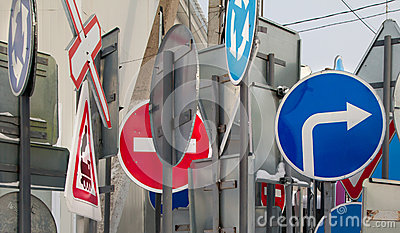 Road signs in assortment