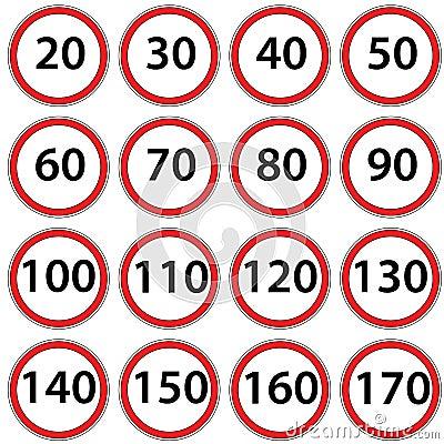 Road signs ban speed. Raster