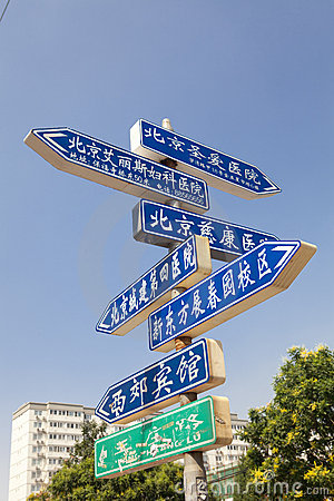 Road signs in Beijing, China