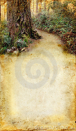 Free Road Through The Forest On A Grunge Background Royalty Free Stock Images - 6814749
