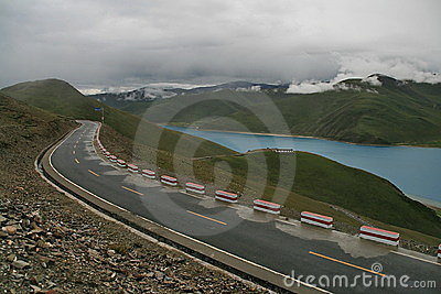 Road on the Tibetan lake
