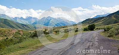 Road in Tien Shan mountains
