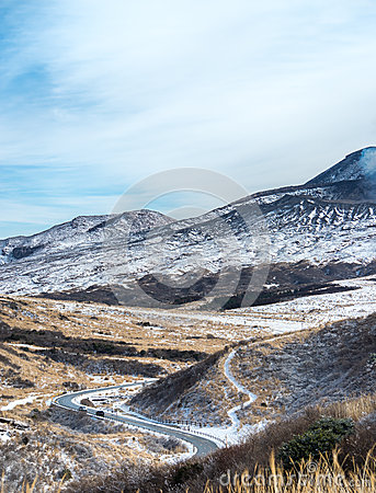 Free Road To Aso Caldera In Winter Stock Photography - 49689992